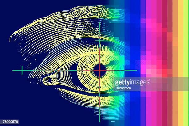 drawing of human eye with rainbow color overlaid and inverted. - ophthalmology stock illustrations, clip art, cartoons, & icons
