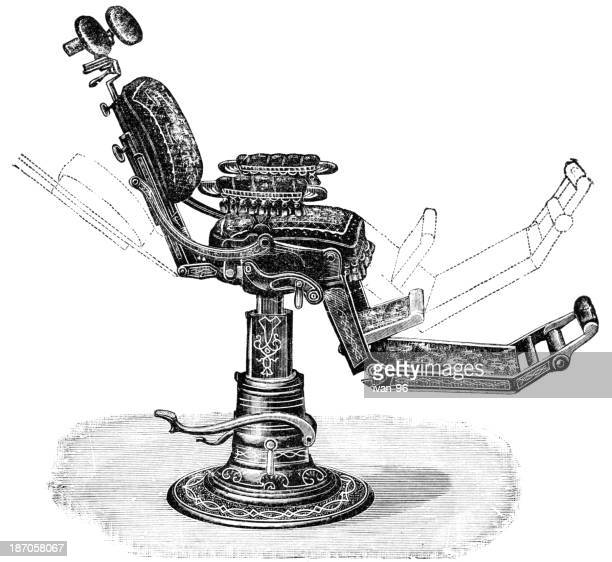 drawing of old fashioned dentist chair showing how it moves - dental drill stock illustrations