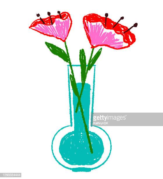 drawing of poppy flowers in vase with water - kathrynsk stock illustrations