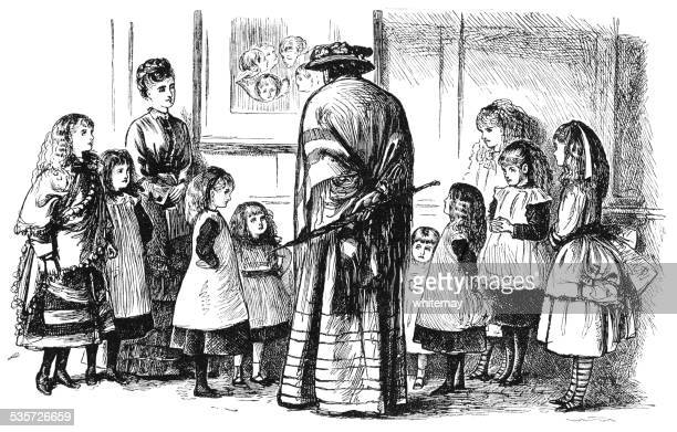 Drawing of schoolmistress instructing group of children.