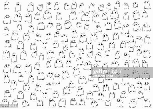 drawing of small ghosts on white background - horror stock illustrations