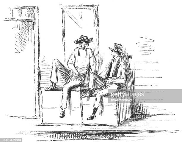 Drawing of Two Men Seated Outside a Building (19th Century)