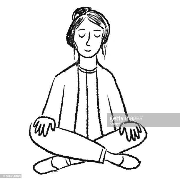 drawing of woman meditating - kathrynsk stock illustrations