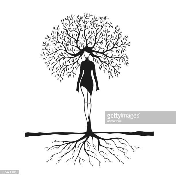 drawing women tree nature - only women stock illustrations, clip art, cartoons, & icons