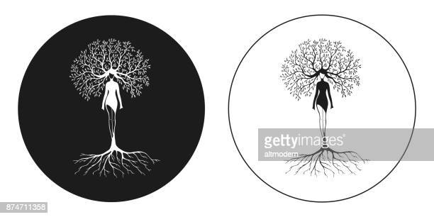 drawing women tree nature - root stock illustrations, clip art, cartoons, & icons