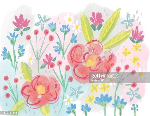 drawn floral background - chicory stock illustrations, clip art, cartoons, & icons