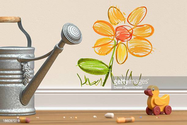 Drawn flower with watering can and toy duck