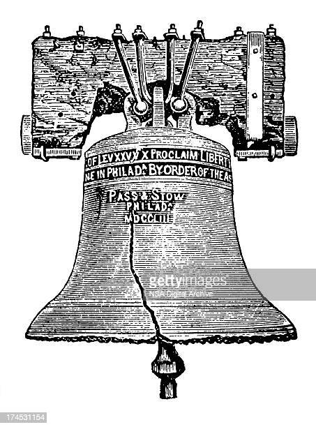 a drawn image of a bell that has a crack in it - liberty bell stock illustrations