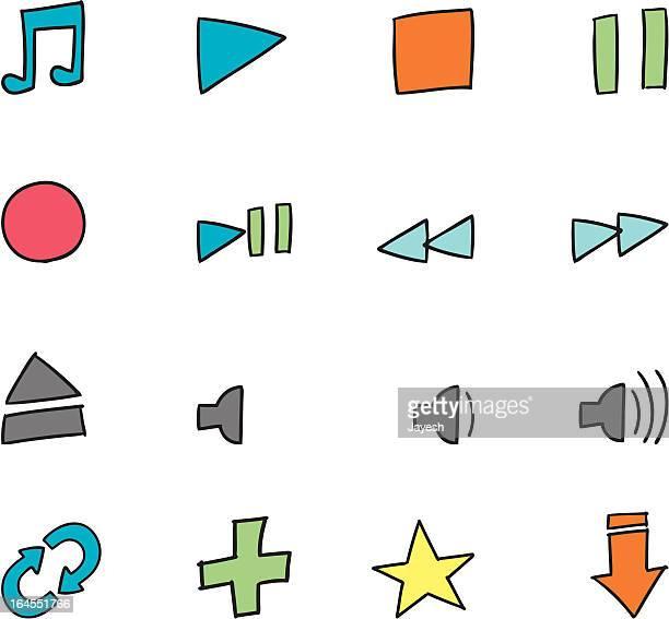 Drawn Music Icon set