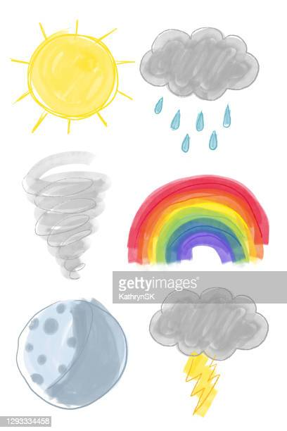 drawn weather icons - kathrynsk stock illustrations