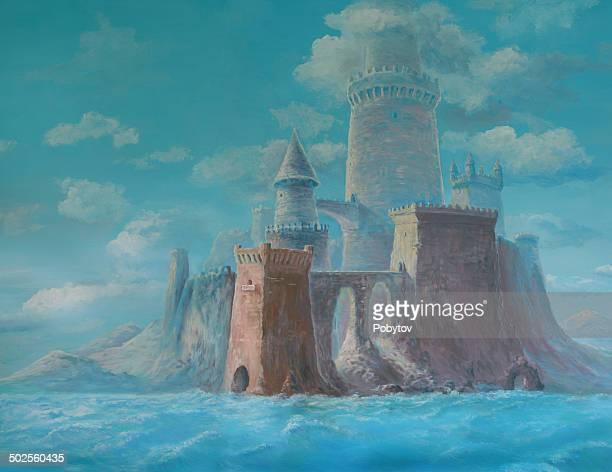 ilustrações, clipart, desenhos animados e ícones de dream castelo à beira-mar - castelo