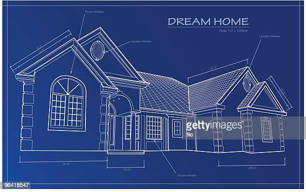 dream home blueprint [vector] - model home stock illustrations