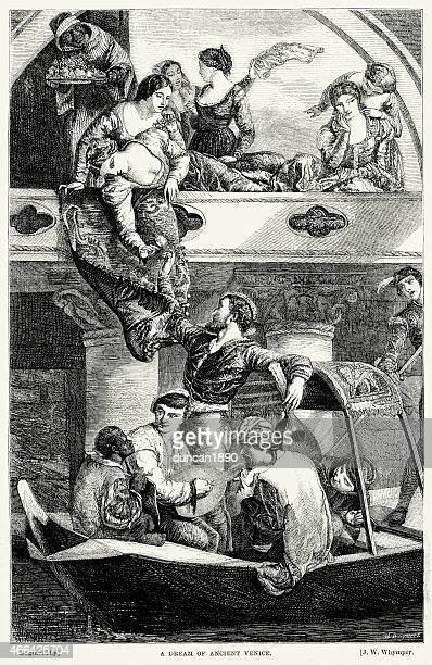 dream of ancient venice - high renaissance stock illustrations