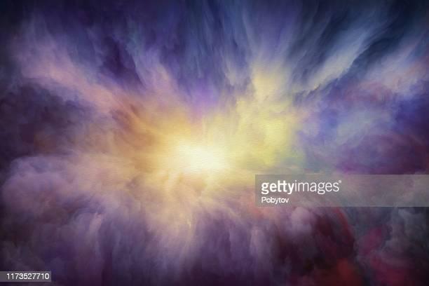 dreamlike watercolor sunset - nebula stock illustrations