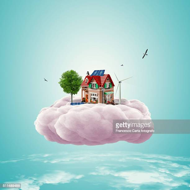 dreams' house - dreamlike stock illustrations