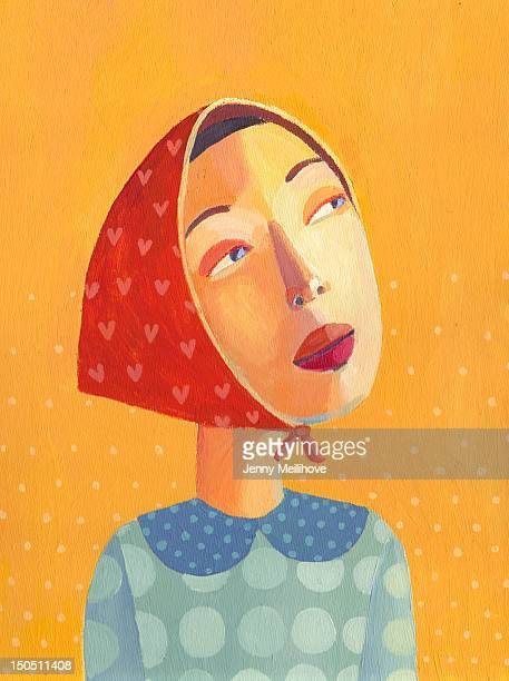 dreamy portrait - one young woman only stock illustrations