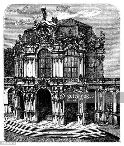 dresden, zwinger pavilion - sandstone stock illustrations, clip art, cartoons, & icons
