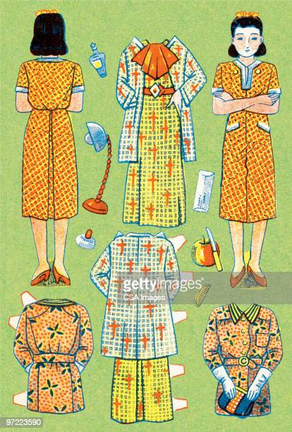 dress shopping - old fashioned stock illustrations