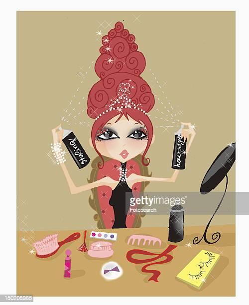 Dressed up woman applying plentiful hairspray