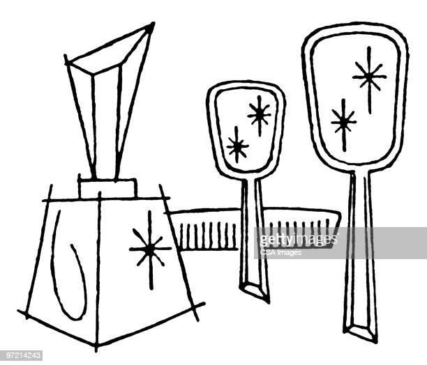 dresser set - four objects stock illustrations
