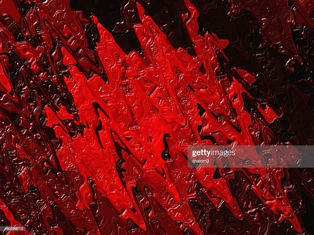 Dried red oil paint on a black background, abstract stains : Stock Illustration