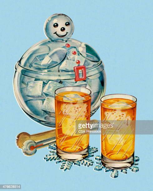 drink glasses and snowman ice bucket - ice bucket stock illustrations, clip art, cartoons, & icons