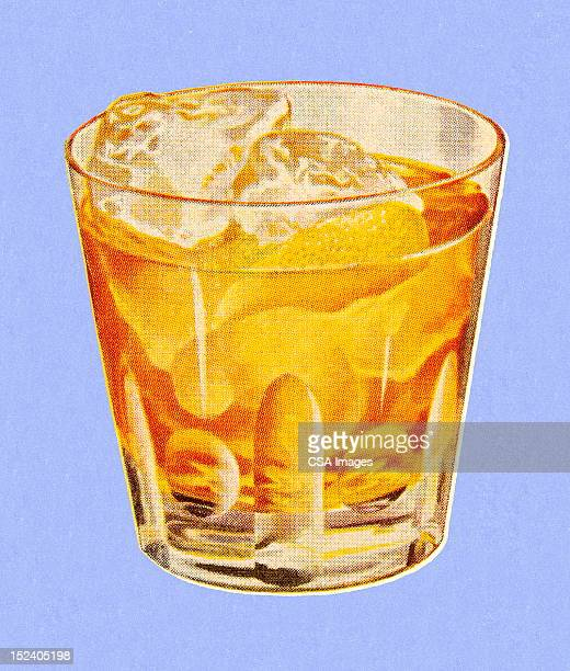 drink on the rocks - whiskey stock illustrations