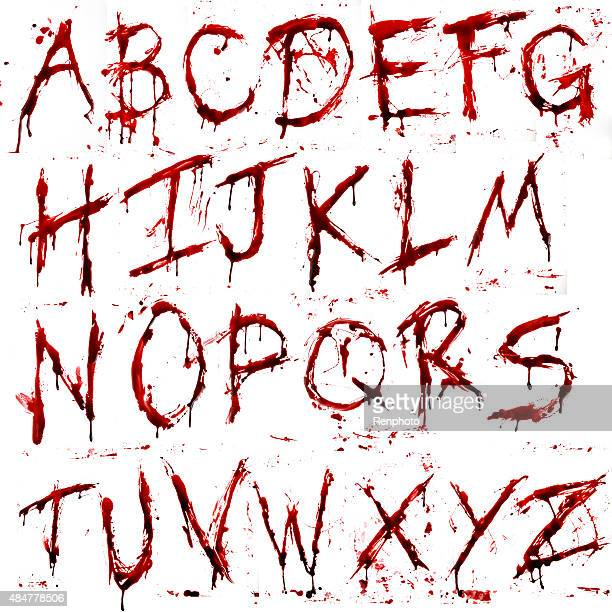 dripping bloody alphabet (a-z) - alphabet stock illustrations