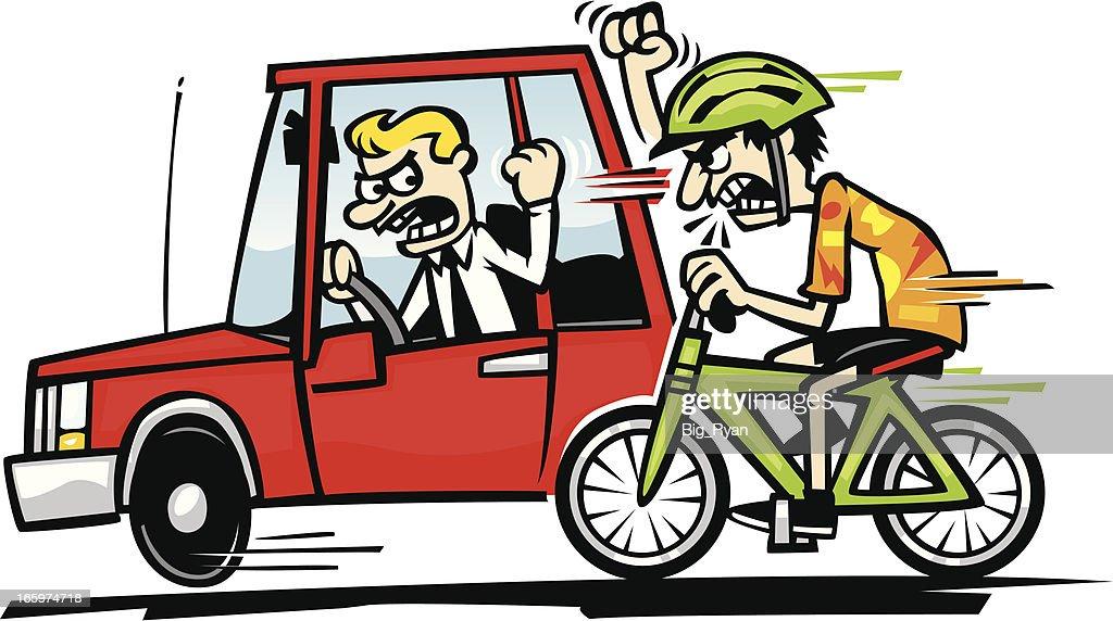 driver vs cyclist : stock vector