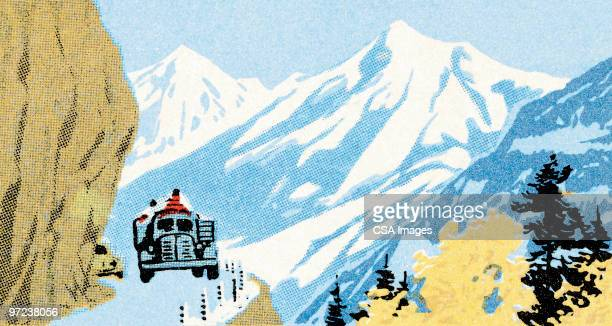driving in the mountains - incidental people stock illustrations