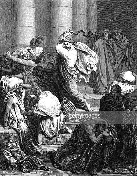 driving the money-changers - synagogue stock illustrations