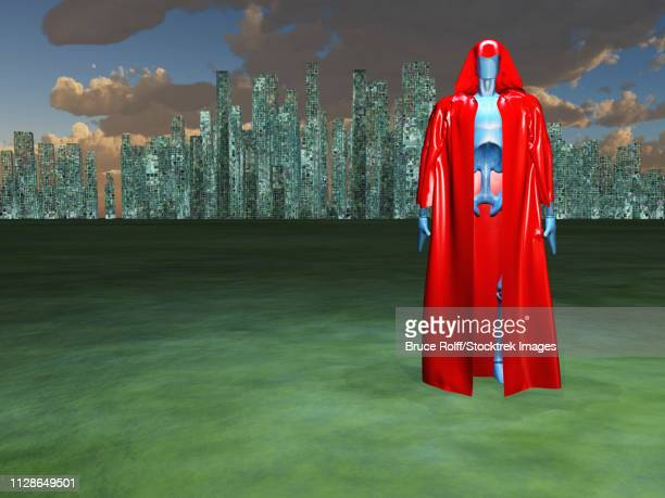 Droid in red cloak before the great city.