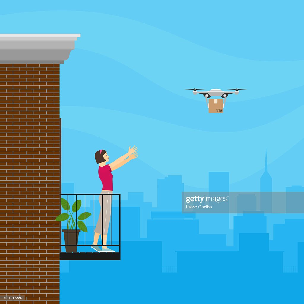 Online store drone delivering a product in a cardboard box package ordered by a young woman from her apartment located in a big city
