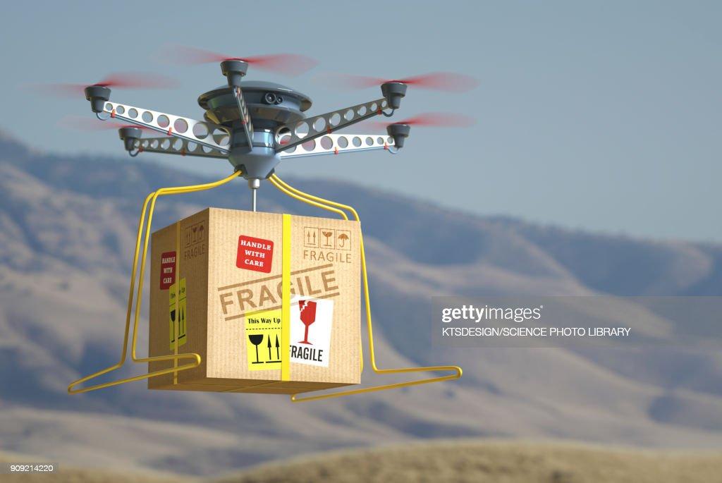 Drone parcel delivery, illustration : stock illustration