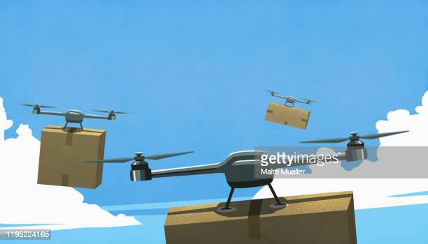 drones flying in sky, delivering cardboard box packages - consumerism stock illustrations
