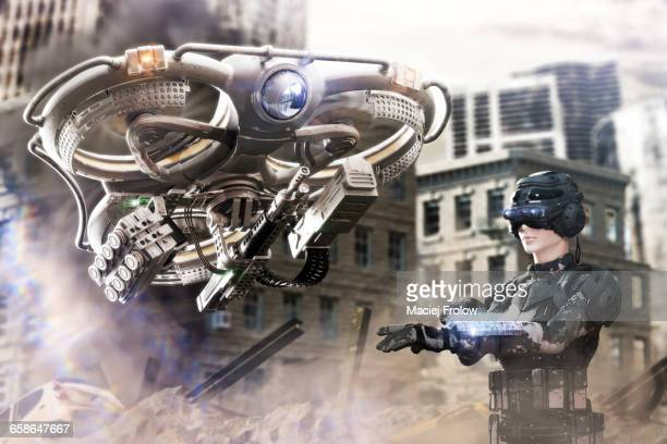drone's pilot and heavy combat drone - war stock illustrations