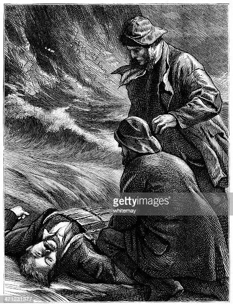 Drowned man being dragged ashore (Victorian illustration)