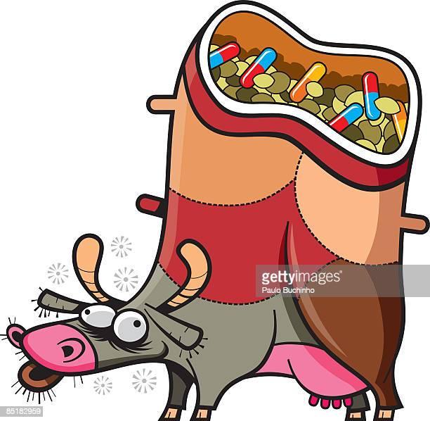 ilustrações de stock, clip art, desenhos animados e ícones de a drugged up cow full of hormones and pills - buchinho