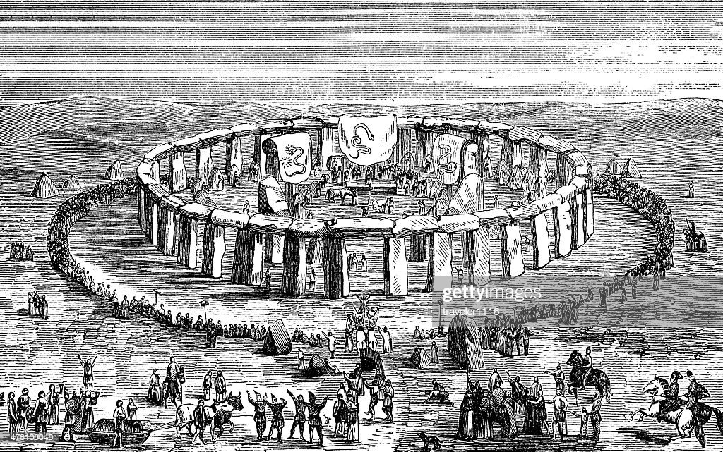 Druids At Stonehenge : stock illustration