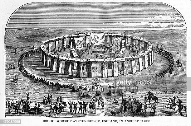 druids worshiping at stonehenge, england in ancient times engraving - megalith stock illustrations, clip art, cartoons, & icons