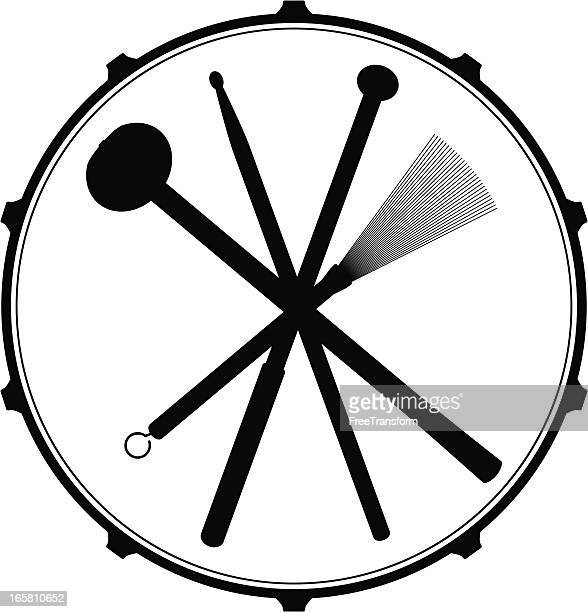 drum head emblem - percussion mallet stock illustrations