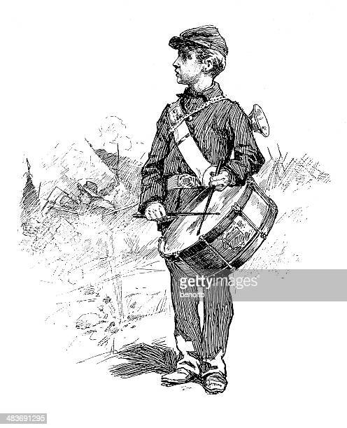 drummer boy - drum percussion instrument stock illustrations, clip art, cartoons, & icons