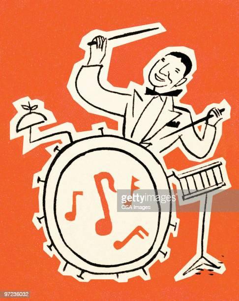 drummer - jazz stock illustrations, clip art, cartoons, & icons
