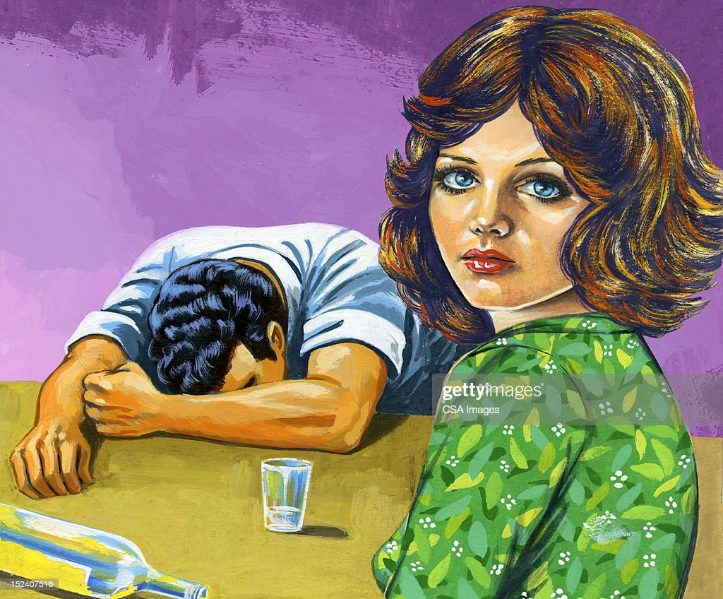 Drunk Man and Woman Looking Over Shoulder : stock illustration