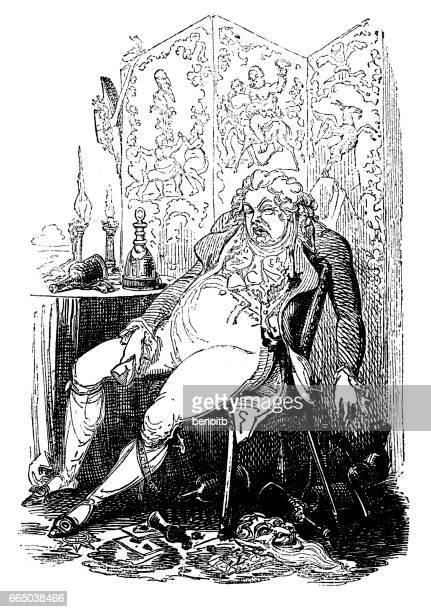 drunk ugly gentleman - bad posture stock illustrations, clip art, cartoons, & icons