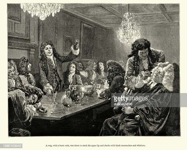 drunken gentleman's party, drawing on passed out mans face - 18th century stock illustrations