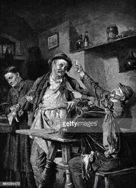Drunken men drinking brandy in the restaurant