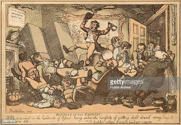 Drunken revelry with drinkers collapsing under the table, dancing on its top and being sick. Entitled, 'Miseries of the Country. 'While on a visit to...