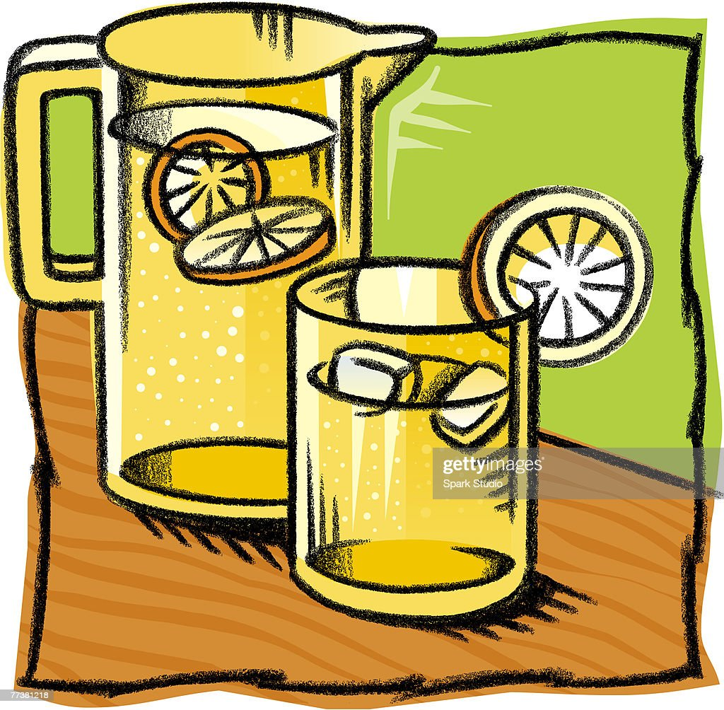 A drwaing of a pitcher of lemonade : Illustration