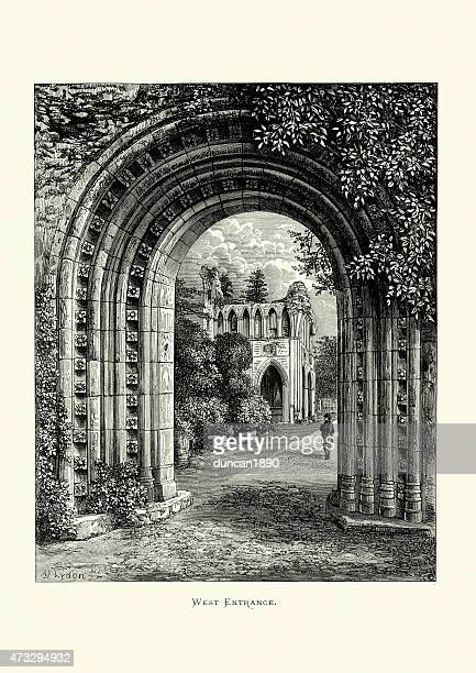 dryburgh abbey in the scottish borders - west entrance - door frame stock illustrations, clip art, cartoons, & icons